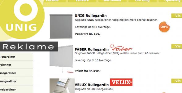 Skærmbillede af Unigs hjemmeside